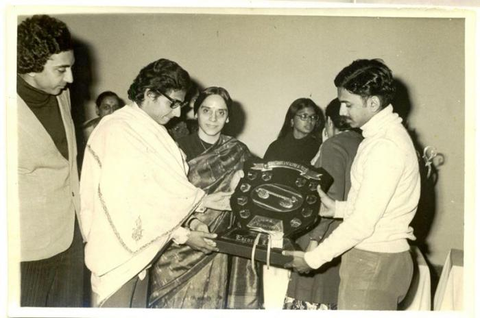 "Receiving the best team trophy for A.N.Jha hostel at the first Cultural Festival ""TARANG 1977""of Lady Sri Ram College, Delhi."